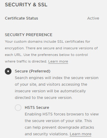 ssl settings squarespace